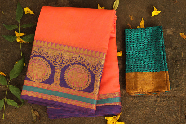 Deep peach Chanderi Cotton Saree With Embroidered Border.RK-CHN3-C30