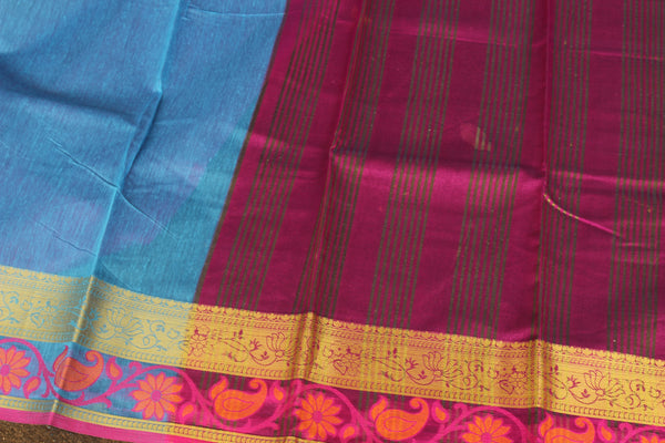 Blue Chanderi Cotton Saree With Embroidered Border.RK-CHN2-C30