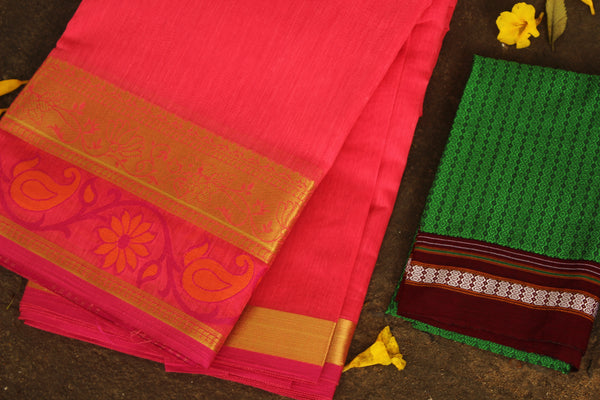 Pink Chanderi Cotton Saree With Embroidered Border.RK-CHN4-C30