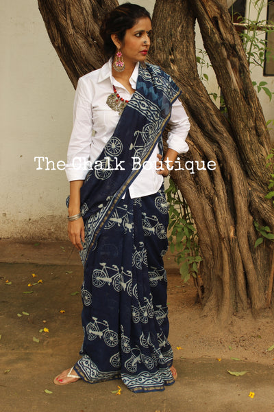 Chanderi Handblock printed indigo dabu 'cycle' saree. SHB-CYCLE-5
