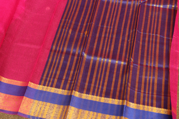 Pink Chanderi Cotton Saree With Embroidered Border.RK-CHN7-C30