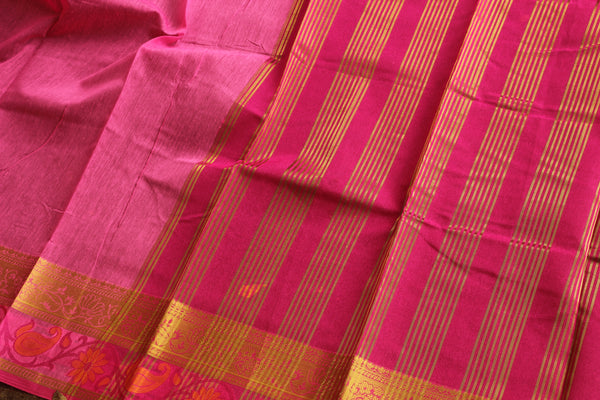 Pink Chanderi Cotton Saree With Embroidered Border.RK-CHN5-C30