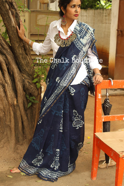 Chanderi Handblock printed indigo dabu 'girl' saree. SHB-GIRL-5