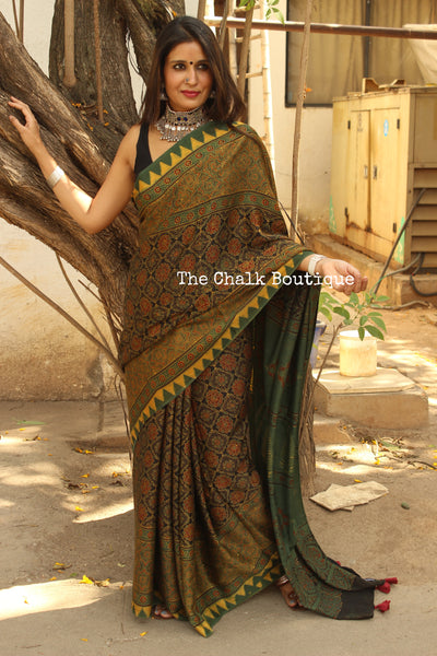 Green Modal silk vegetable dyed Ajrakh saree.