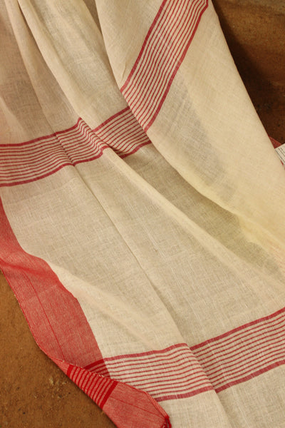 Summery cream with 'laal paar' handloom Cotton Saree. NF-KD1-C5