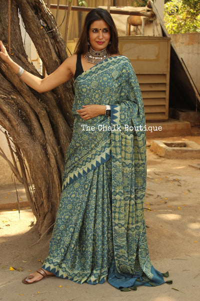 Blue Modal silk vegetable dyed Ajrakh saree.