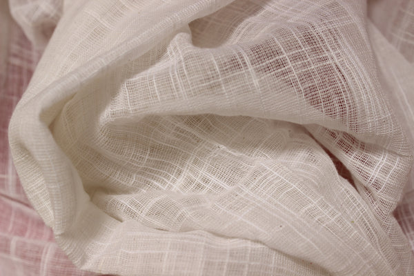 White with 'laal paar' handloom Cotton Saree. NF-KH7-C5-The Chalk Boutique