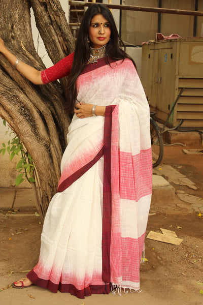 White with broad 'laal paar' handloom Cotton Saree. NF-KH8-C5-The Chalk Boutique