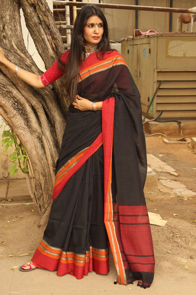 | Black Beans | Handloom cotton saree in light coffee shade with contrast border.TCB-AC1-BN