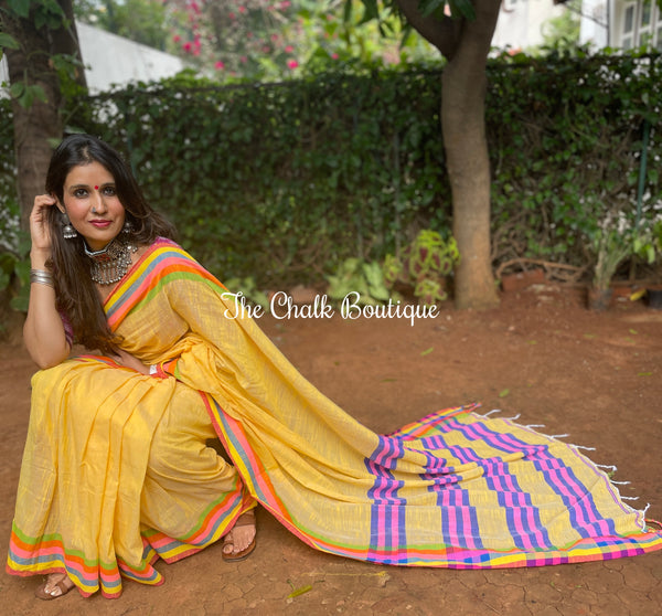 White Handwoven linen Saree With Zari and brocade border. TS 3623