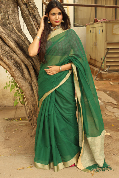 | Vivid Green | Handloom Cotton saree with contrast gicha paar. TCB-AG3-BN