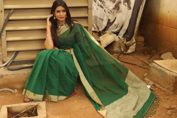 | Vivid Green | Handloom Kota Cotton saree with contrast gicha paar. TCB-AG3-BN-The Chalk Boutique