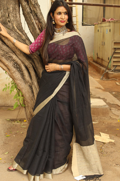 | Kohl Rimmed | Black Handloom Cotton saree with contrast gicha paar. TCB-AG4-BN
