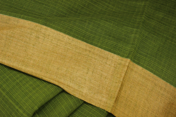 | Green Smoothie | Handloom Cotton saree with contrast gicha paar. TCB-AG2-BN