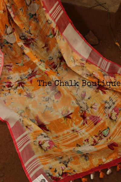 Yellow floral digital print linen sari with pompoms. TCB-DIG1-LIN-C5