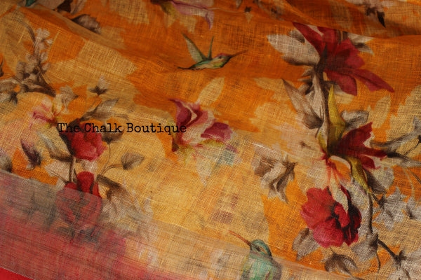 Yellow floral digital print linen sari with pompoms. TCB-DIG1-LIN-C5-The Chalk Boutique