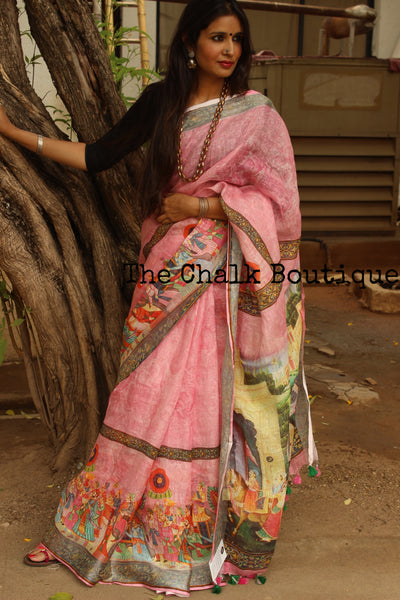 Pink digital print linen sari with broad border and pompoms. TCB-DIG2-LIN-C5-The Chalk Boutique
