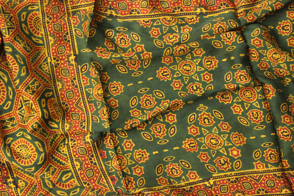Green Modal silk vegetable dyed Ajrakh stole.