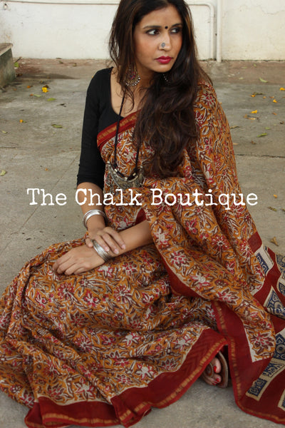 Handblock printed dabu saree in chanderi silk. SHB-CH-9