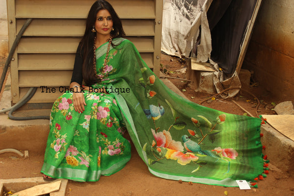 Stunning Floral Green digital print linen sari with birdie pallu and pompoms. TCB-DIG4-LIN-C5