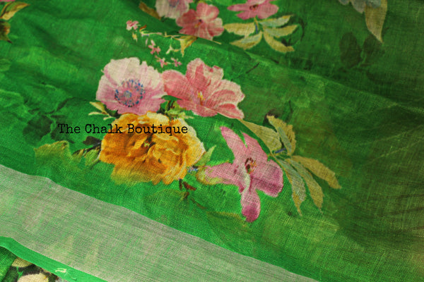 Stunning Floral Green digital print linen sari with birdie pallu and pompoms. TCB-DIG4-LIN-C5-The Chalk Boutique