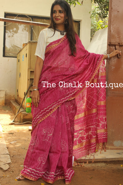 Handwoven silk saree with gicha border and gicha palla. SHB-GICHA-1