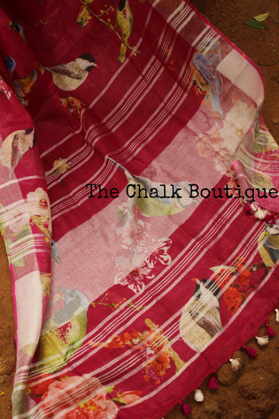 Birdie digital print linen sari with pompoms. TCB-DIG5-LIN-C5