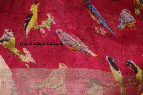 Birdie digital print linen sari with pompoms. TCB-DIG5-LIN-C5-The Chalk Boutique