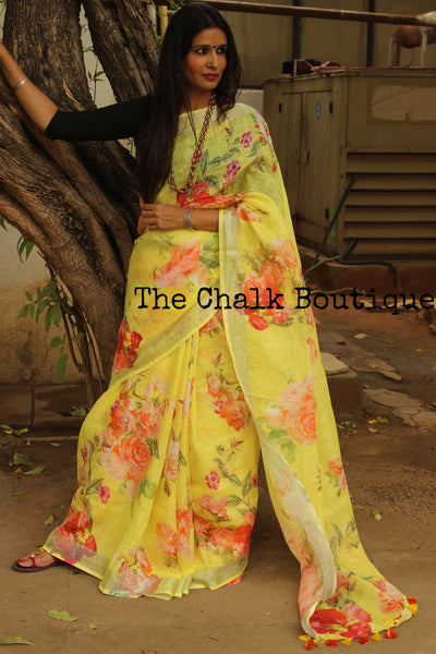 | Honey Dust | Yellow Floral digital print linen sari with pompoms. TCB-DIG6-LIN-C5-The Chalk Boutique