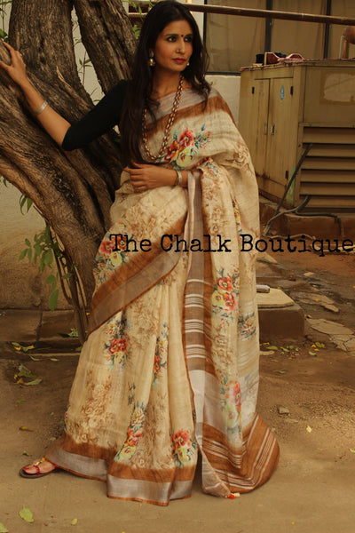 | Coffee Beans | Beige and Brown Floral digital print linen sari with pompoms. TCB-DIG7-LIN-C5