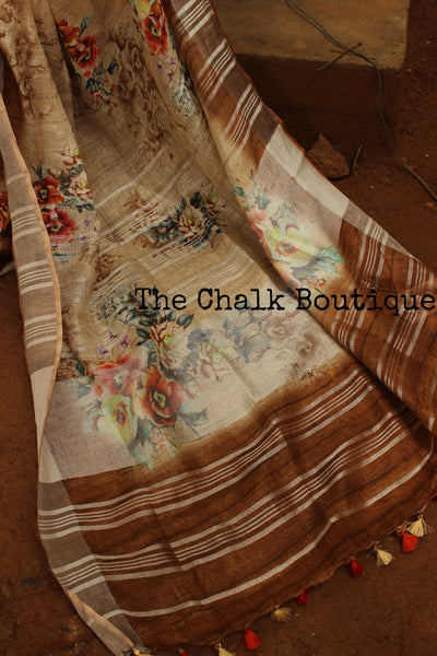 | Coffee Beans | Beige and Brown Floral digital print linen sari with pompoms. TCB-DIG7-LIN-C5-The Chalk Boutique