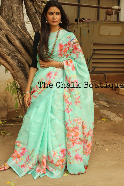 Blue digital print linen sari with birdie on flowers and pompoms. TCB-DIG8-LIN-C5