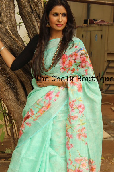 Blue digital print linen sari with birdie on flowers and pompoms. TCB-DIG8-LIN-C5-The Chalk Boutique
