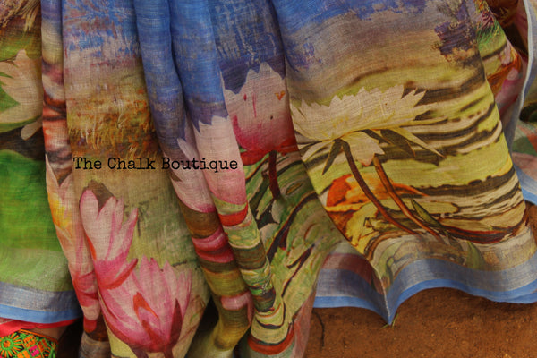 Blue digital print linen sari with lotus pond and pompoms. TCB-DIG9-LIN-C5