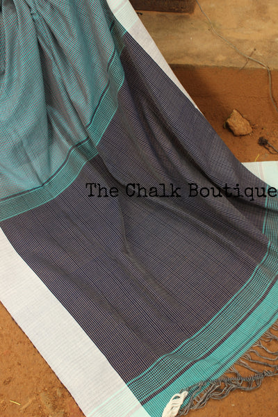| Checked-In | Handloom Self design small checked woven Cotton saree with contrast paar.TS3352