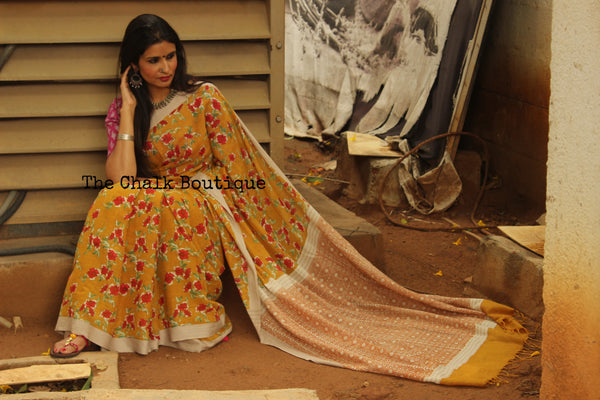 | Flower Bouquet| - Mustard Handblock printed handloom cotton saree.TCB-PC27-BS
