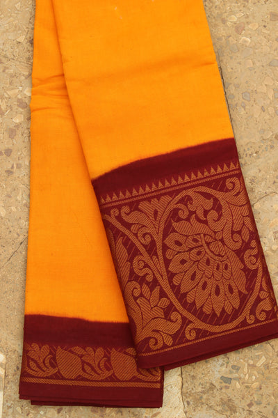 Yellow Traditional Plain 'Sungudi' in with broad maroon zari border. RK-SUN2-C18
