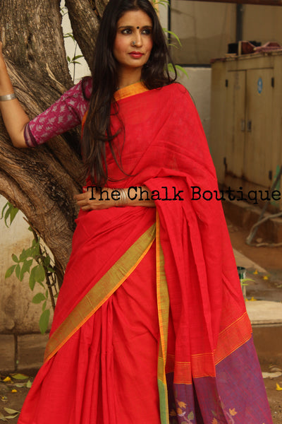 Red Handloom Khadi Cotton Saree With zari Border & Jamdani Palla.NF-KHD1-C5
