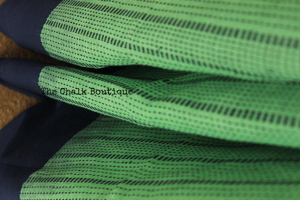Green Handloom Self design striped woven Cotton saree with contrast paar.TCB-AT1-BN