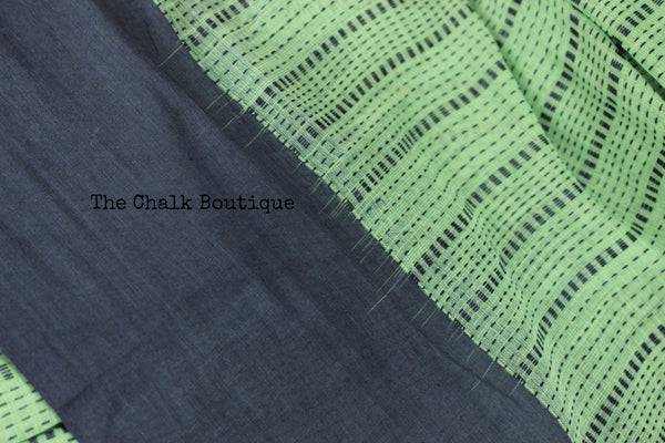 Green Handloom Self design striped woven Cotton saree with contrast paar.TCB-AT1-BN-The Chalk Boutique