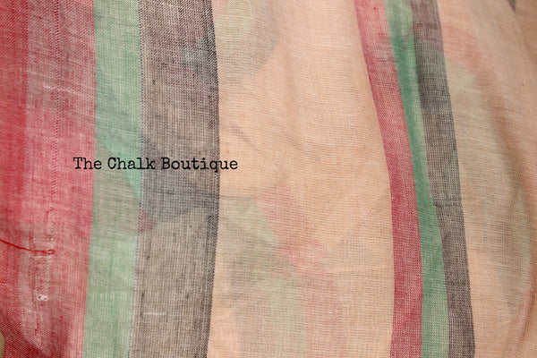 Off White Khadi Cotton Saree with Red, Green & Black Border and checked palla NF-KC5-C4