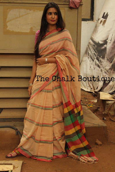 Beige Cotton Saree with Red, Green & Black stripes. NF-KC3-C4-The Chalk Boutique