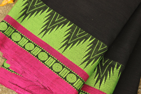 ( Aazad ) - White with  contrast green border handloom Cotton Saree. TCB-TEM15-JM