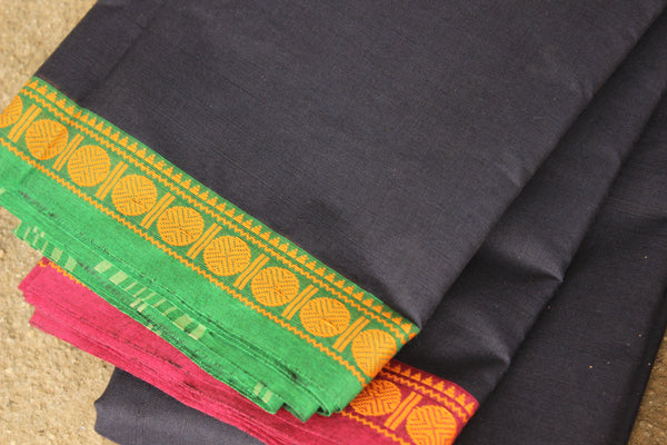 ( Aazad ) - White with contrast green border handloom Cotton Saree. TCB-TEM15-JM-The Chalk Boutique