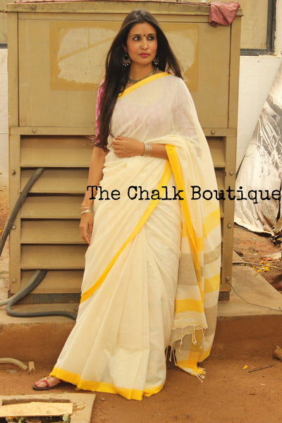 White with contrast thin yellow temple border handloom Cotton Saree. TCB-CT2-BS