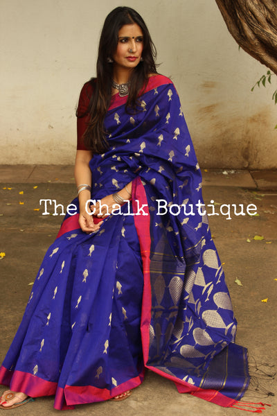 | Giggle Toes | Deep Blue cotton silk saree with fish zari bootas all over . TCB-FSH6-CY