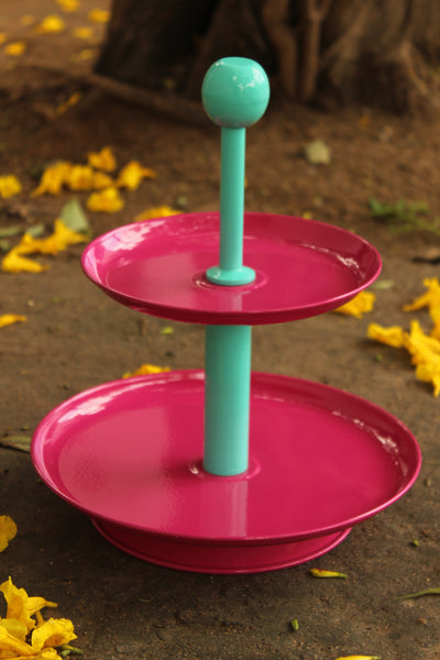 Two Tier Metal  Cake  And Cupcake Stand. EL-2TC-2-C10