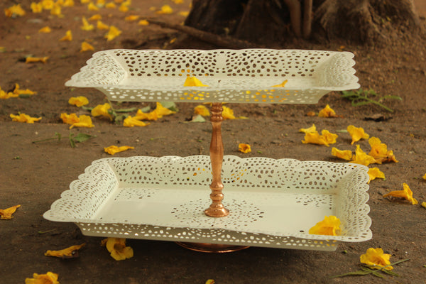 ARABESQUE TWO TIER STAND-IVORY. EL28-LWE-16024F