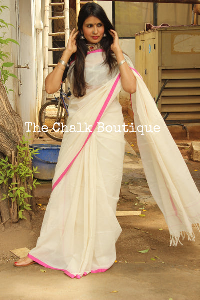 White 'handloom mark' handwoven begumpuri saree with thin pink contrast border. TCB-PI1-C2-BG
