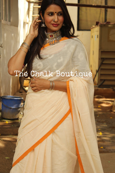 White 'handloom mark' handwoven begumpuri saree with thin mustard contrast border. TCB-PI2-C2-BG-The Chalk Boutique